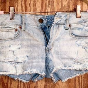 American Eagle Low-Rise, Distressed Jean Shorts